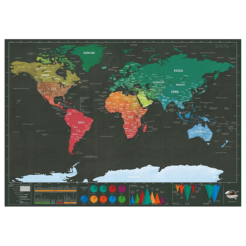 Fashion 1pc Hot Foil Layer Scratching World Map Poster Map Wall