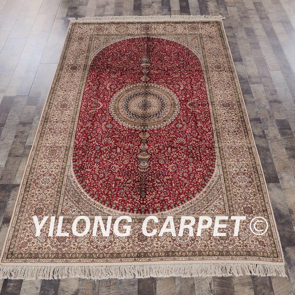 Tapis rouge persan fait main Yilong 5'x8' tapis de soie médaillon Oriental (YHW238A5x8)