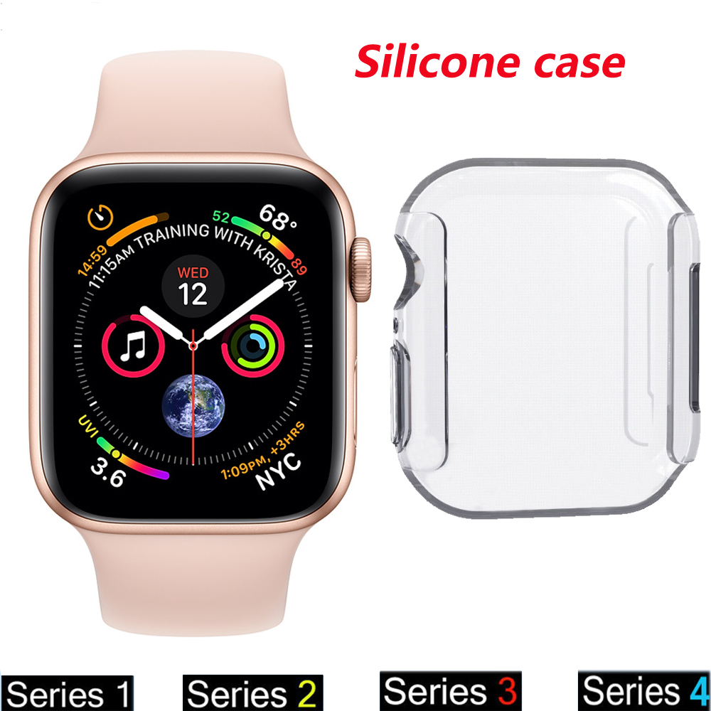 Silicone protector case For apple watch band 44mm 40mm 42mm 38mm iwatch series 4 3 2 1 watch cover Ultra-thin Clear frame shell series 1 2 3 soft silicone case for apple watch cover 38mm 42mm fashion plated tpu protective cover for iwatch