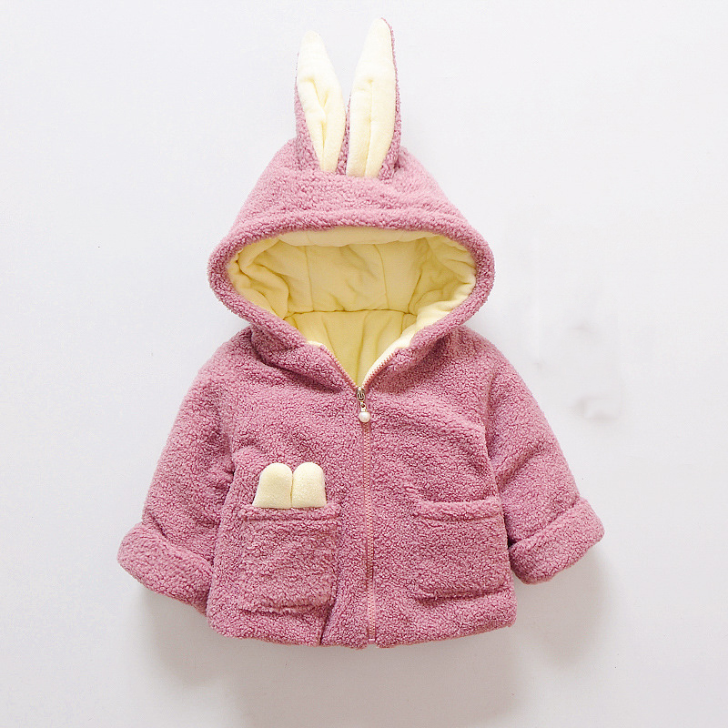 12M-4T Baby Clothing  Jackets&Coat Baby Girl Clothes Keep Warm Cotton Coat Solid Colors Rabbits Hooded Baby Girl Coat Winter new winter women down cotton jackets fashion solid color hooded thicker keep warm casual tops plus size elegant coat okxgnz a752
