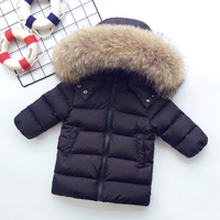 Brand Boys down Jackets Kids Real Fur Collar Coat Children Winter Outwear 1 8 Y children's snow wear kids outerwear & coats