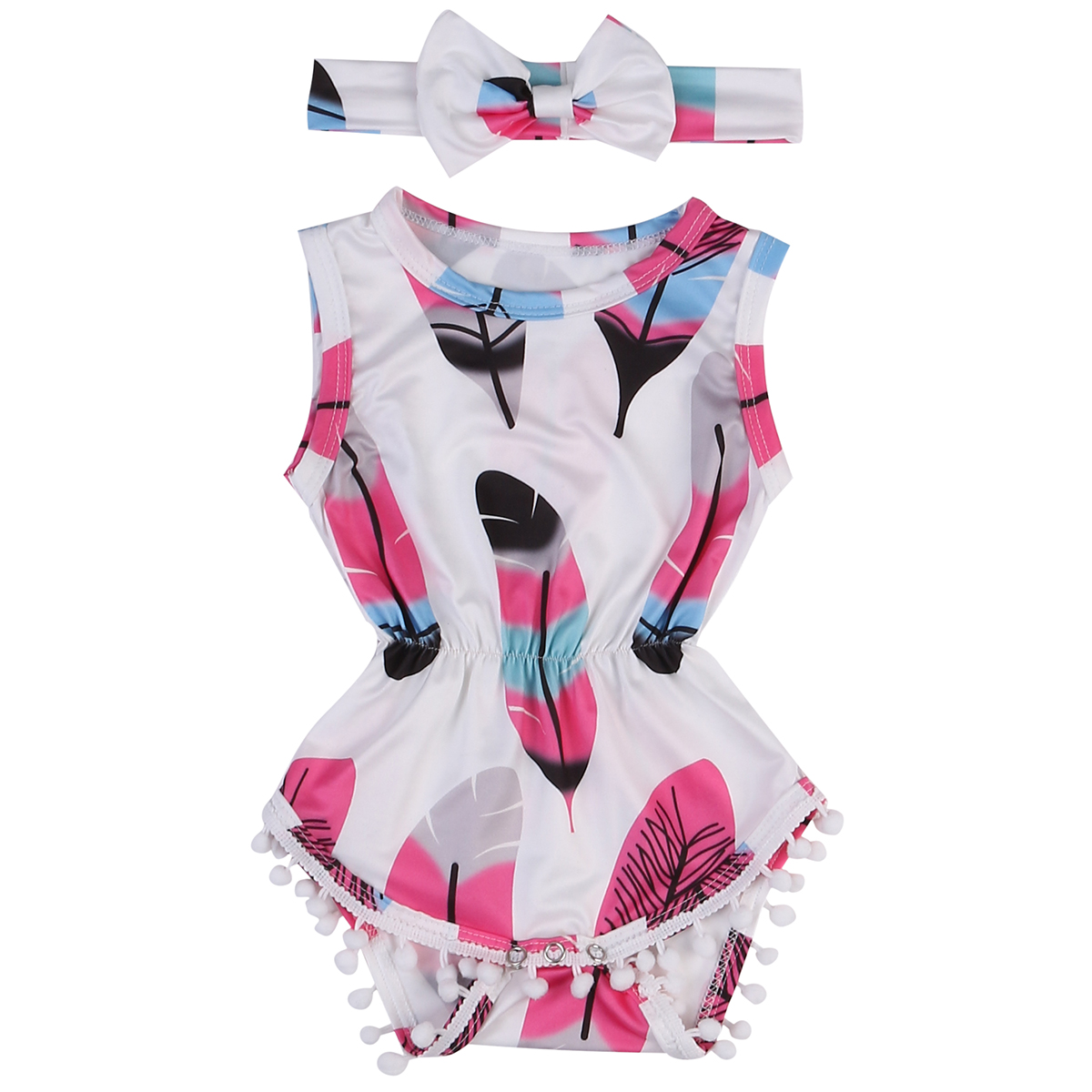 Cute Infant Newborn Baby Girls Floral Tassels Sleeveless Jumpsuit Bodysuit + Headband Outfits Playsuit Summer Kids Clothes Set 2pcs ruffles newborn baby clothes 2017 summer princess girls floral dress tops baby bloomers shorts bottom outfits sunsuit 0 24m