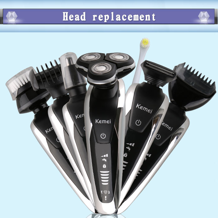 kemei 8867 7 in 1 electric shaver washable hair trimmer face beard kemei electric razor men shaving machine grooming kit