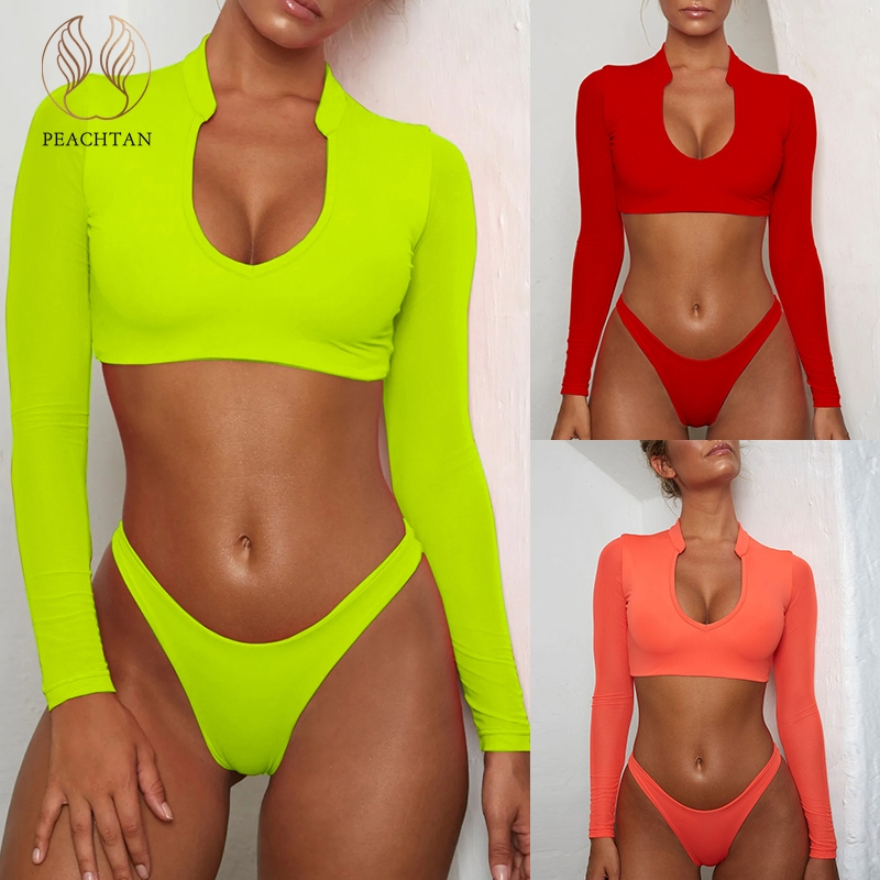 Peachtan Long sleeve brazilian swimsuit female Mesh neon bikini 2019 micro Sexy push up swimwear women bathing suit Thong beachPeachtan Long sleeve brazilian swimsuit female Mesh neon bikini 2019 micro Sexy push up swimwear women bathing suit Thong beach