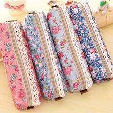 Bag Pencil-Case Stationery Flower Gift Multi-Function Floral Zipper Retro Fashion Mini