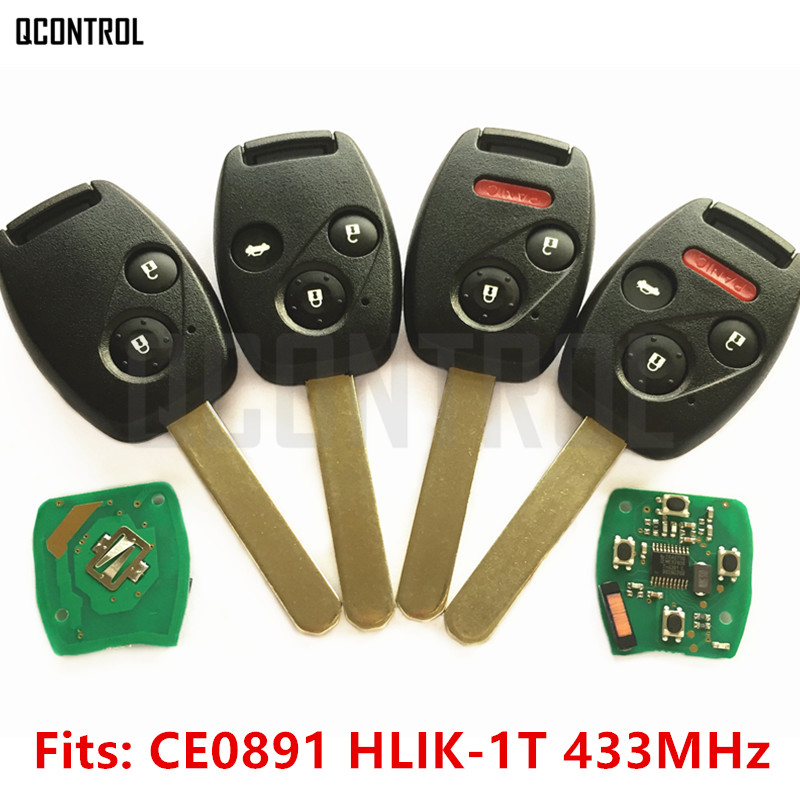 QCONTROL Car Remote Key Suit for Honda CE0891 HLIK-1T Accord Element Pilot CR-V HR-V Fit Insight City Jazz Odyssey Fleed 433MHz(China)