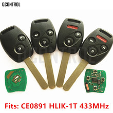 QCONTROL Car Remote Key Suit for Honda CE0891 HLIK 1T Accord Element Pilot CR V HR V Fit Insight City Jazz Odyssey Fleed 433MHz