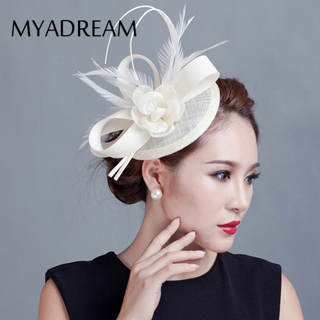 9784067824039 MYADREAM 2 Feather Elegant Sinamay Flower Fedora Hat Wedding Hair  Accessories Black Pink Fascinators Hats for Women Chapeu