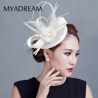 MYADREAM 2 Pena Elegante Sinamay Chapéu Fedora Flor Fascinators Chapéus para As Mulheres de Casamento Acessórios Para o Cabelo de Rosa Preto Chapeu