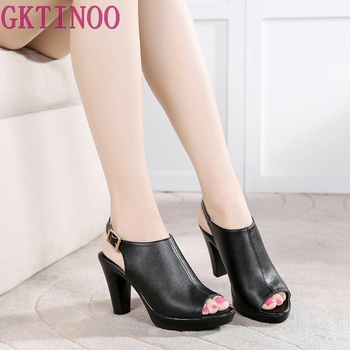 GKTINOO Open Toe Genuine Leather Platform Sandals Woman Summer 2020 High Heels Sandals Women Sexy Office Shoes Plus Size 33-43 women heels sandals sexy plus size 43 high quality laser reflective high heels platform for women occupation open toe heels