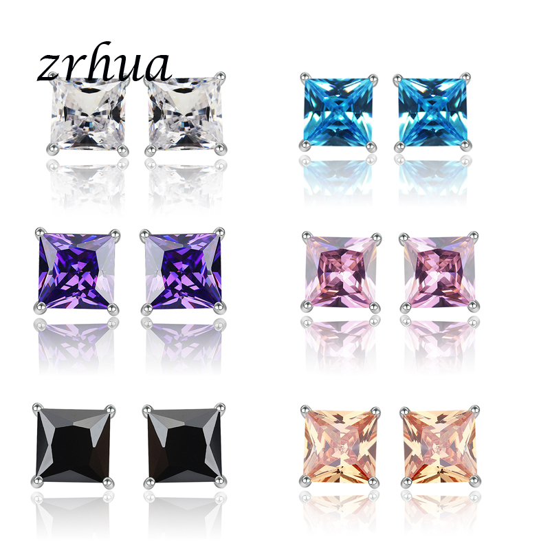 ZRHUA 925 Sterling Silver High Quality Stud Earrings Jewelry Women Accessories Square Vintage Chic Cubic Zircon 4 Claws 8 Colors