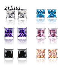 ZRHUA 925 Sterling Silver High Quality Stud Earrings Jewelry Women Accessories Square Vintage Chic Cubic Zircon 4 Claws 8 Colors(China)