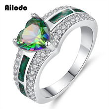 Ailodo Colorful CZ Stone Heart Engagement Wedding Rings For Women Silver Color Fashion Opal Ring Femme Bijoux Jewelry Gift LD092