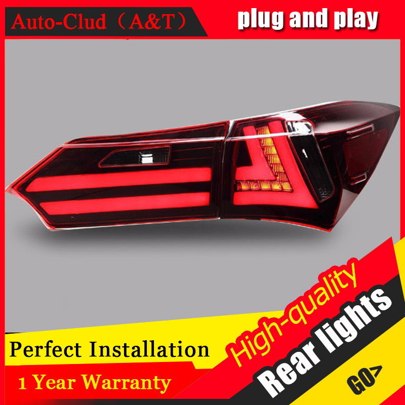 AUTO PRO Car Styling for Toyota Corolla 2014-2015 led tail lights new Altis rear lights corolla tail lamp drl rear trunk lamps new halogen fog light lamp with wires and button for toyota corolla 2014 altis