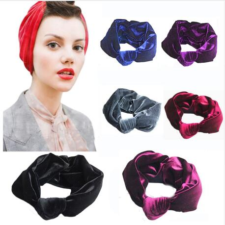 2016 New 12pcs lot Velvet Knot Headband Women Noble Scrunchy Twist Hair  Band Turban Headband Bandana Bandage On Head For Women 80966b1c264