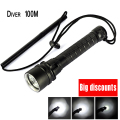 For Diver Lamp 100M Underwater 6000LM 3x XM-L T6 LED Scuba Diving Flashlight Torch Waterproof LED Flash Light Lantern