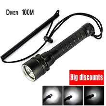 For Diver Lamp 100M Underwater 6000LM 3x XM-L T6 LED Scuba Diving Flashlight Torch Waterproof LED Flash Light Lantern