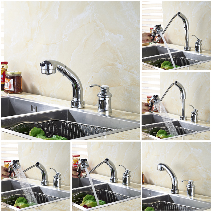 New Style Chrome Polished Kitchen Sink Faucet Single Handle Mixer Tap Pull Out Faucet polished chrome pull out kitchen sink faucet single handle hot