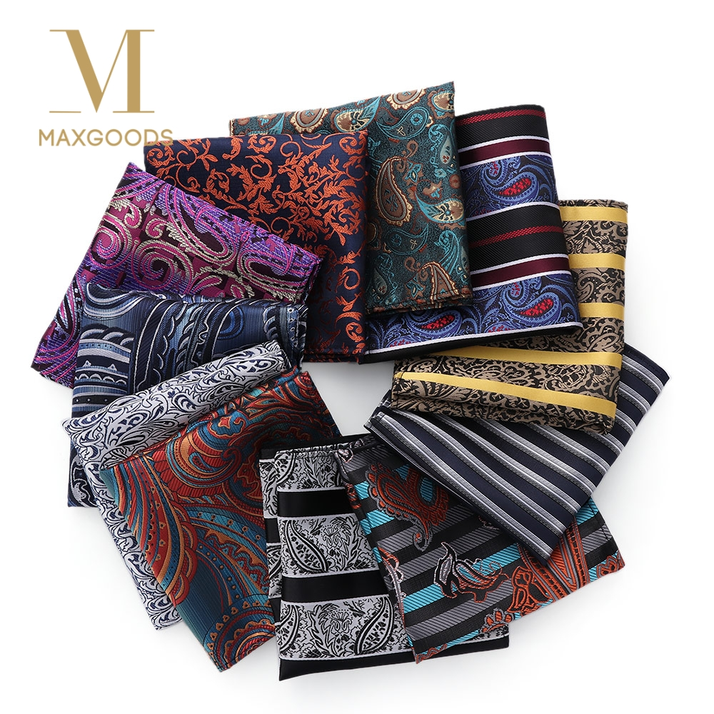 23*23cm Luxury Men's 100% Silk Handkerchief Paisley Floral Jacquard Women Pocket Square Towel For Business Wedding Party Scarf