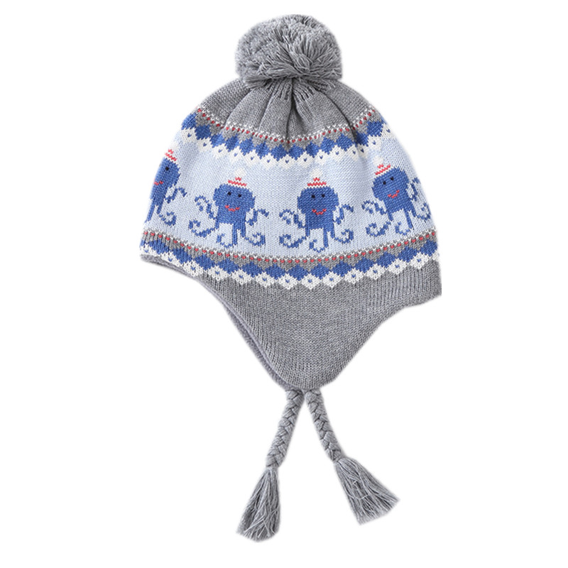 554f4bbb3 US $9.8 30% OFF|baby & kids girls boys fashion geometric print gray earflap  beanie warm fleece hat children casual hat caps-in Hats & Caps from Mother  ...