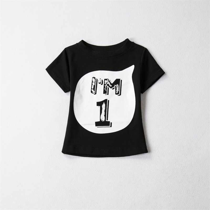 Algodão Roupas de Bebê Verão Tops T-shirt das Crianças Roupa Da Menina Meninos 1 2 3 4 Anos Roupa De Aniversário Da Criança Infantil camisas do partido