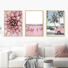 Scandinavian Flower Pink Bus Decor Wall Art Canvas Painting Nordic Scenery Poster Modern Home Office Room Unframed