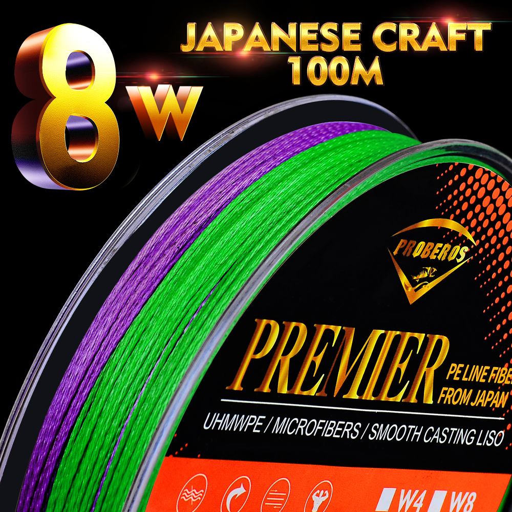 100M Carp Fishing Line 8 Strands Weave Super Strong Braid Wire 6-100LB Camo Multicolor Multifilament Braided PE Fishing Line