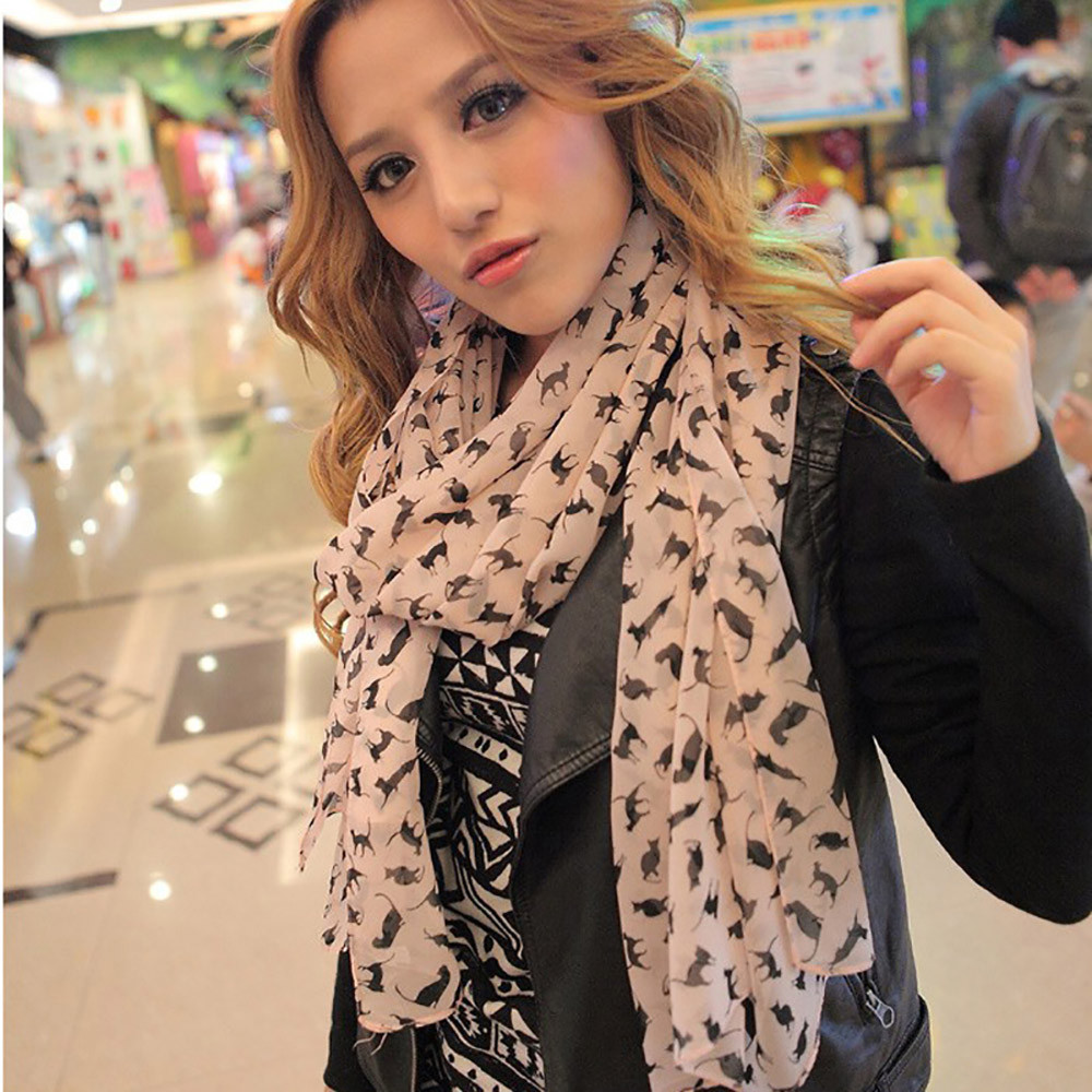 Womens scarfs fashionable 2018 women little cat long soft wrap scarf shawl scarf chiffon scarfs for ladies foulard femme