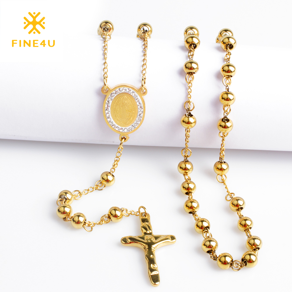 2018 New FINE4U N052 Cross Pendant Necklace For Men Women 316L Stainless Steel Rosary Beads Necklace Religious Jewelry