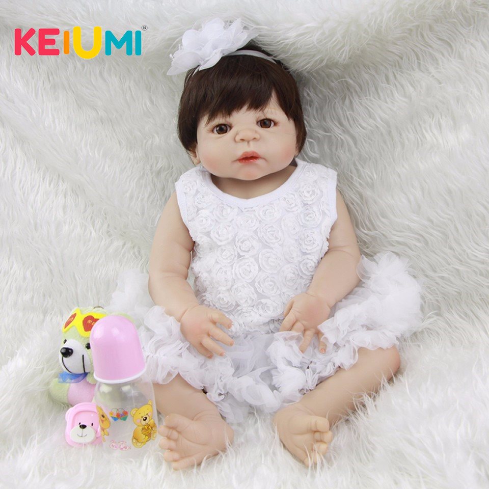 KEIUMI 23 ''полный винил Reborn Baby куклы для девочки силиконовые детские куклы игрушки True To Life 57 см принцесса дети подарки на день рождения
