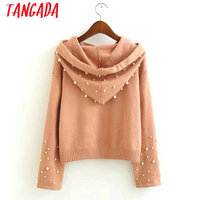 Tangada autumn winter fashion knitting pearl sweaters women pullovers female vintage crop sweater hooded pull femme knitwear 4L4