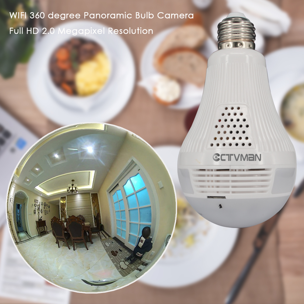 CTVMAN Panoramic Bulb Camera 1080P Full HD 2mp 360 Degree Fisheye Wi fi Wireless LED Light lamp IP P2P E27 Dome VR Security Cam - 6