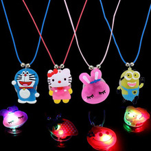 Children jewelry led toys luminous pendant necklace flash cartoon images hot summer night market toy