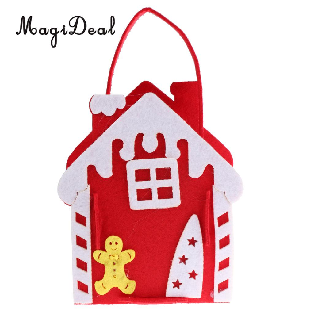 Novelty Christmas House Design Candy Treat Bags with Handle Xmas Holiday Shopping Gift Favor Bag