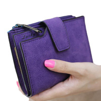 Solid Vintage Matte Women Wallet Fashion Small Female Purse Short Purse Lady Letter Snap Fastener Zipper