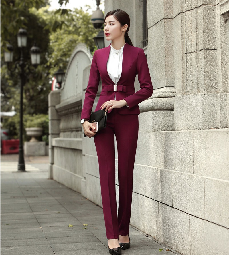 Fashion Wine Formal Uniforms Designs Professional Pantsuits With Jackets And Pants For Ladies Office Work Wear Blazers Sets 20