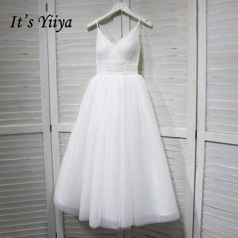 It's YiiYa Wedding Dress V-neck Spaghetti Straps Lace Up Ankle Length Wedding Dresses Bridal Engagement Elegant White Gowns G008