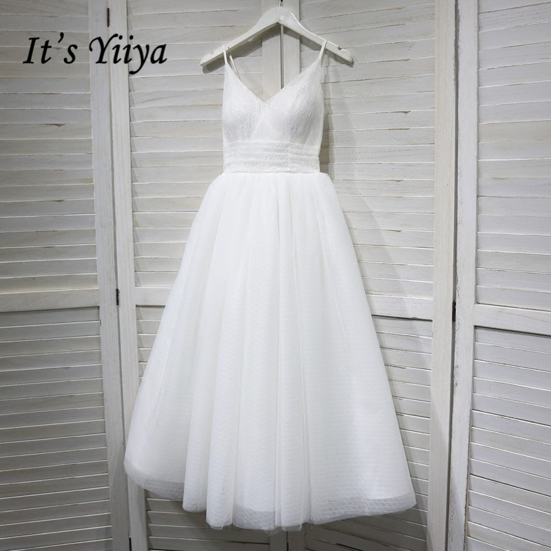 It's YiiYa Wedding Dress V-neck Spaghetti Straps Lace Up Ankle Length Wedding Dresses Bridal Engagement Elegant White Gowns G008