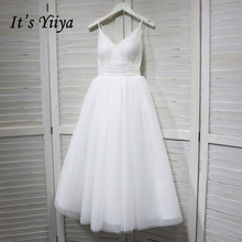 Its YiiYa Wedding Dress V-neck Spaghetti Straps Lace Up Ankle Length wedding dresses Bridal Engagement Elegant White Gowns G008