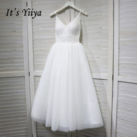 It's YiiYa Wedding Dress V neck Spaghetti Straps Lace Up Ankle Length wedding dresses Bridal Engagement Elegant White Gowns G008