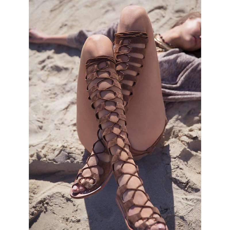 New arrival knee high boots cross strap cut-outs gladiator sandal boots suede open toe lace-up sandals summer women flat shoes цена