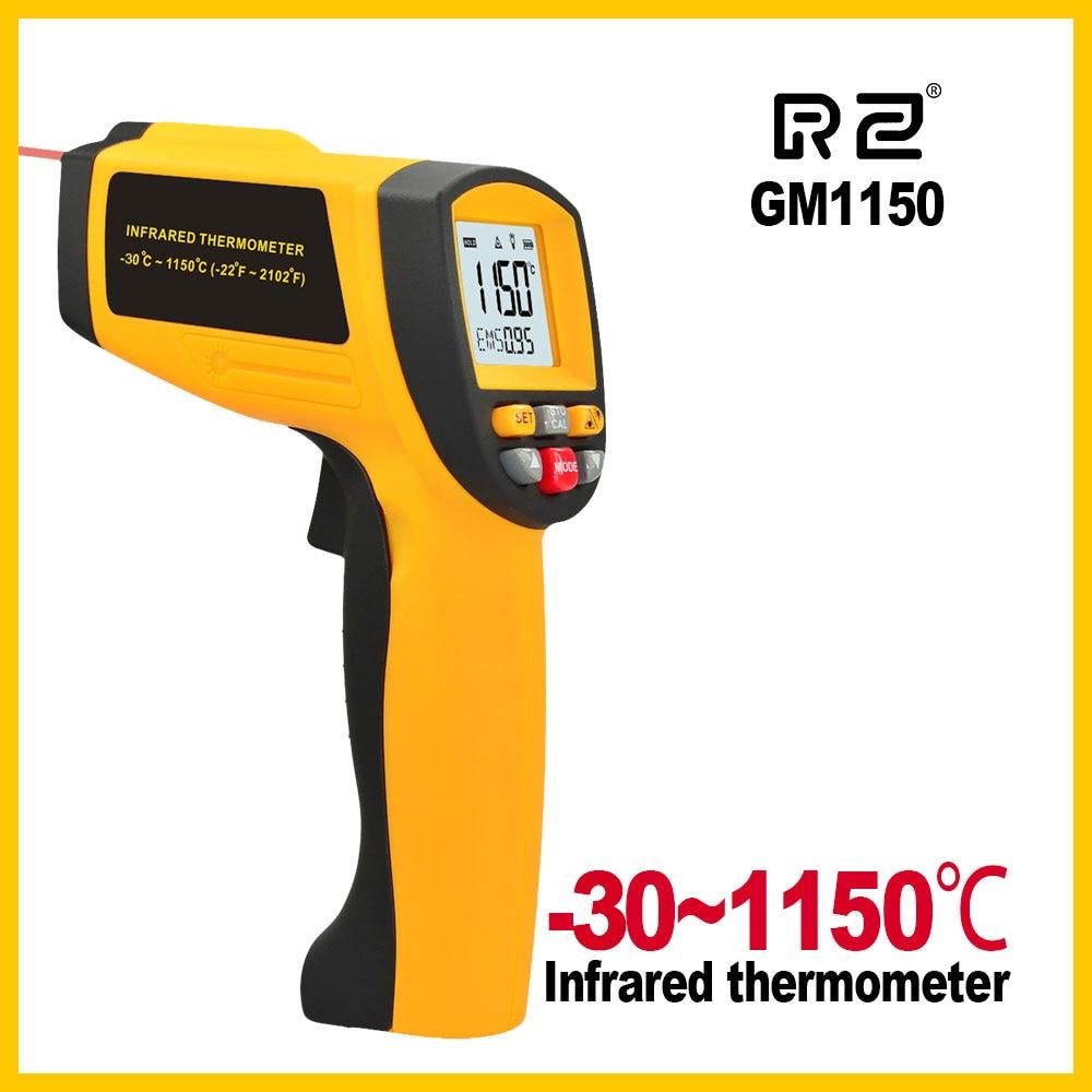 GM1150 Display LCD 12: 1 senza contatto Termometro digitale a infrarossi con termometro per pistola a infrarossi -30 ~ 1150C (-58 ~ 2102F) 0.1 ~ 1.00 regolabile
