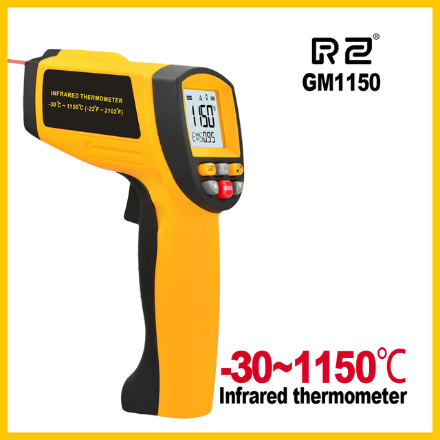 GM1150 Non Contact 12:1 LCD display IR Infrared Digital Temperature Gun Thermometer  30~1150C ( 58~2102F) 0.1~1.00 adjustable