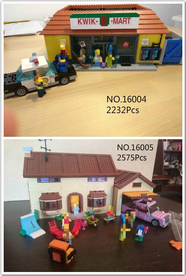 IN STOCK 16004 16005 The Simpsons Bart Homer the Kwik-E-Mart Lepin Model Building Block Bricks Compatible 71016 neue lepin 16004 2232 stucke die simpsons action modell baustein ziegel kompatibel 71016 fur kinder geschenk