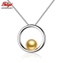 FEIGE Simple style Real 925 Sterling Silver Pendant Necklaces 7-8mm Golden Freshwater Pearl Necklace for Women Fine Jewelry feige simple style real 925 sterling silver pendant necklaces 7 8mm white freshwater pearl necklace for women fine jewelry