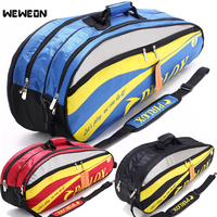 4 6 Pcs Men Badminton Racket Bag Waterproof Athlete Tennis Rackets Backpack For Shoes Double Open Zipper Tennis Bag raquette de