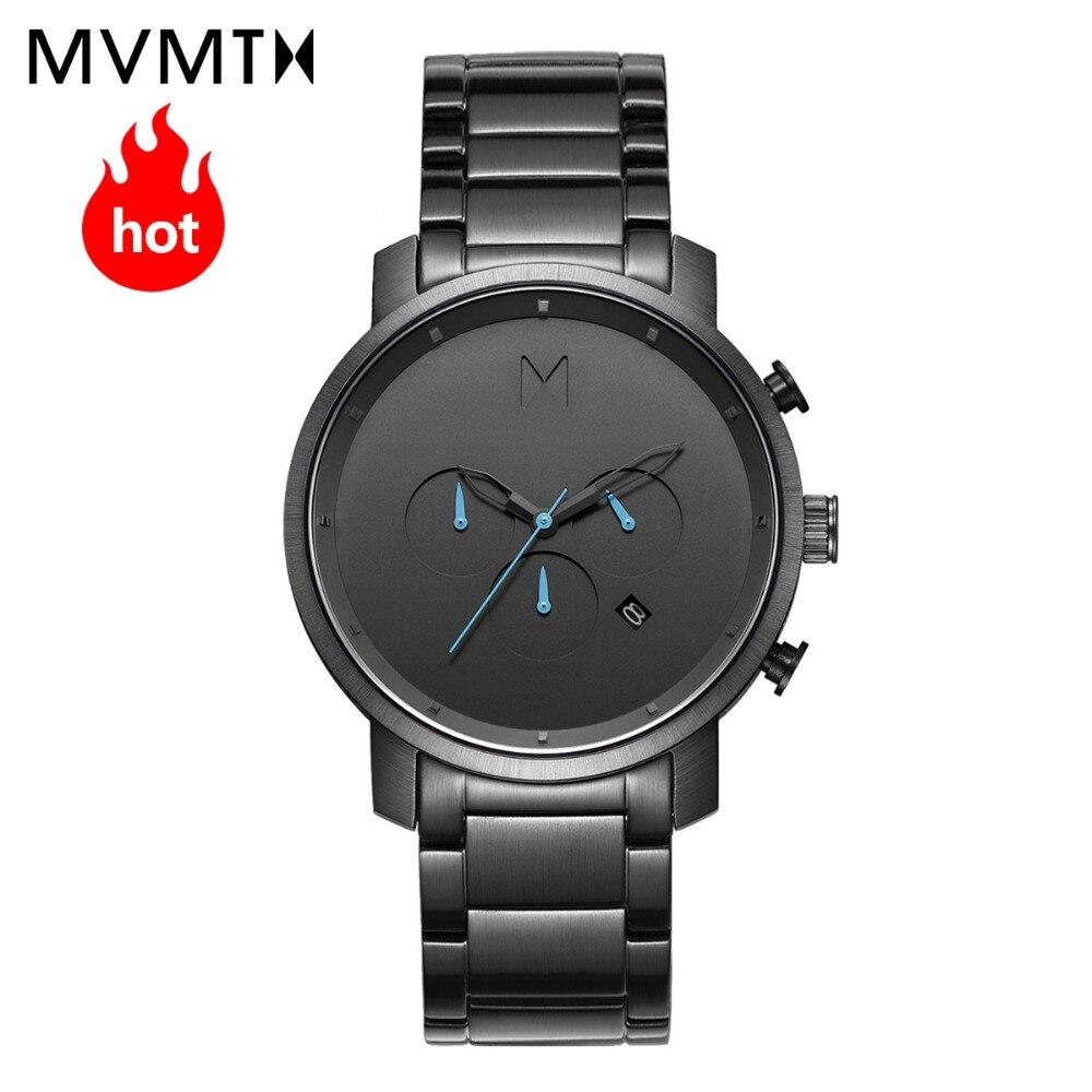 MVMT montre officiel autorisé Européen et Américain hommes de montre de mode style bracelet en cuir montre à quartz étanche 45 mmdw