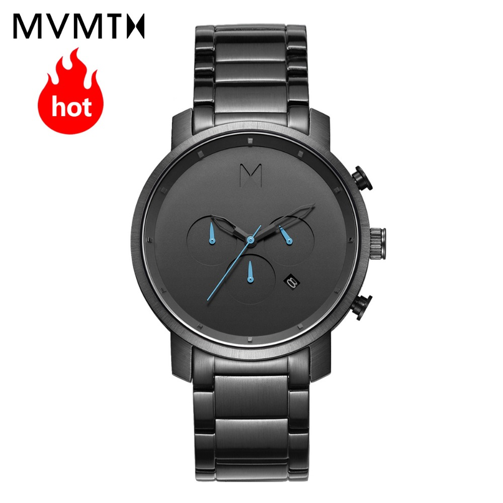 MVMT relógio oficial autorizada dos homens Europeus e Americanos estilo de moda relógio de pulseira de couro à prova d' água relógio de quartzo 45 mmdw