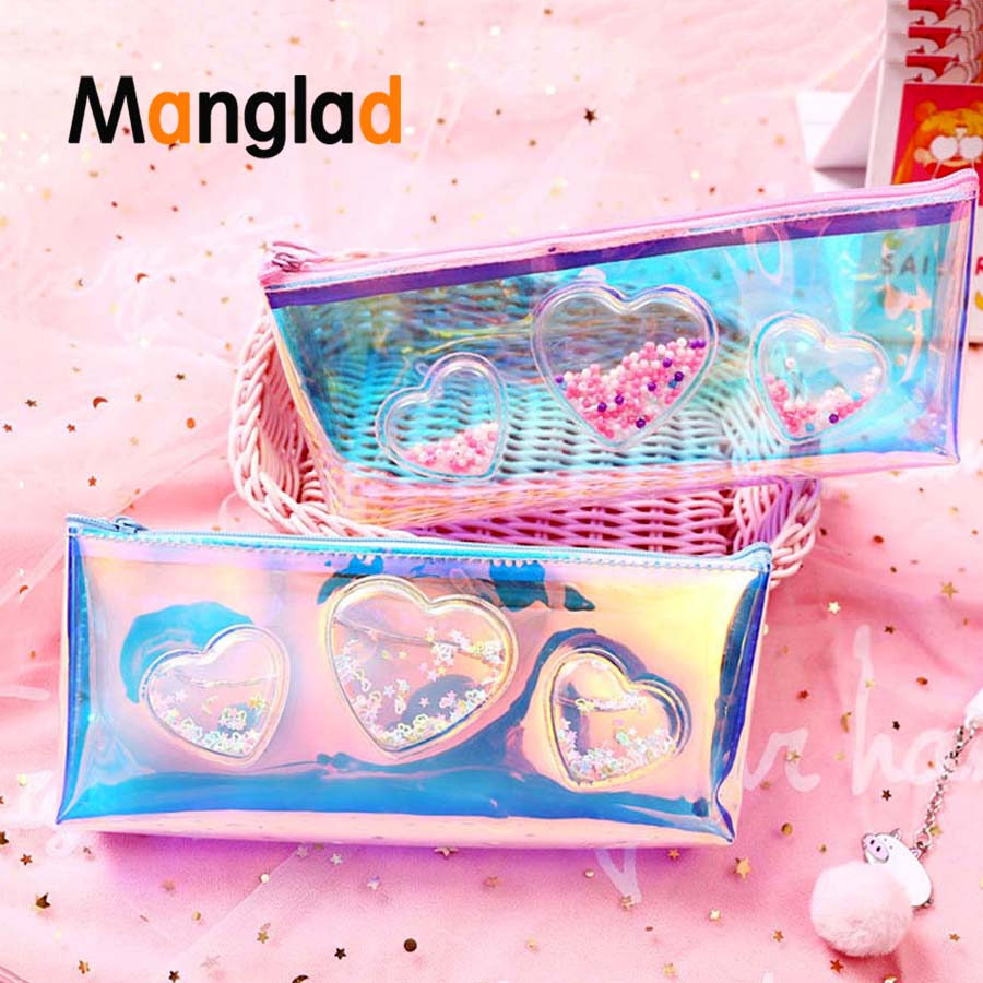 Simple Oil-infused Transparent Laser Quicksand New PU Creative Pencil Case School Supplies Stationery Pouch Makeup Storage Bag