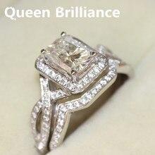 Promo 14k 585 White Gold1.2 Carat Radiant Cut Engagement Wedding Lab Grown Moissanite Diamond Ring Set Test Positive Lab Grown Diamond